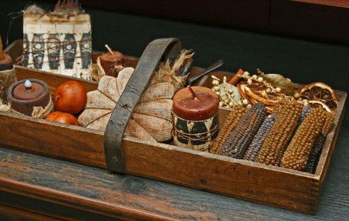 sweet fall centerpiece... love the wax corn