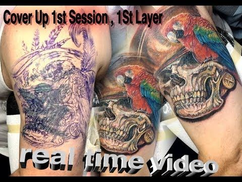 Cover Up Tattoo Real Time In Progress Skull Tattoo How To With C Skull Tattoo Cover Up Tattoo Tattoos