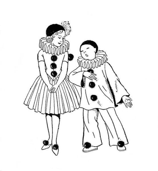 Pierrot colombine f te d 39 anniversaire et deguisements - Coloriage pierrot ...