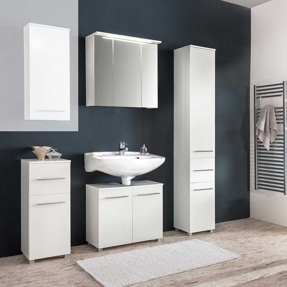 Badezimmer Kombination in Weiß online bestellen (4-teilig) Jetzt - badezimmermöbel weiß landhaus