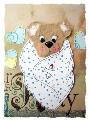 Tear Torn Bear baby boy scrapbook    Here is that brown sweet bear we all think is so cute. He is wrapped up and ready to go out. This Bear is made with brown mulberry paper. Comes with 3 paper hearts. Nice scrapbook paper with blue dots on it. It's photo safe. All paper pieced, chalked and inked. You just glue into your scrapbook.