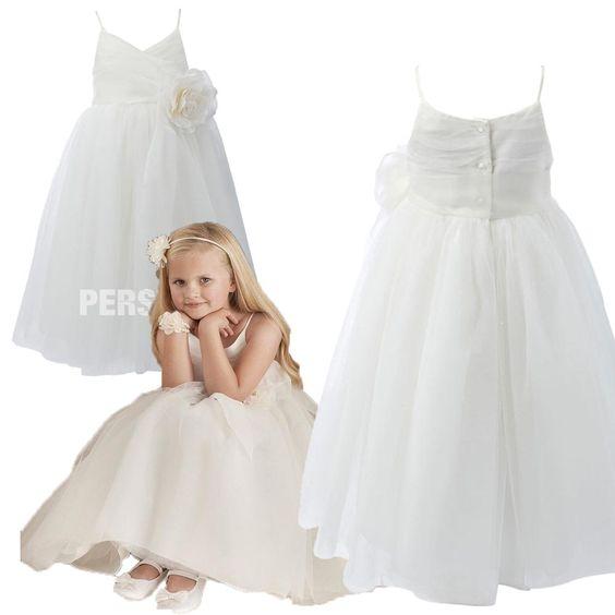 #Semplice #Carino Fiori Fatti a Mano #Abito Da #Cerimonia #Bambina Stile A Line - Persunit.com