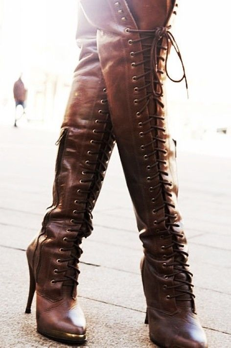 Brown leather lace up thigh high boots over the knee lace up