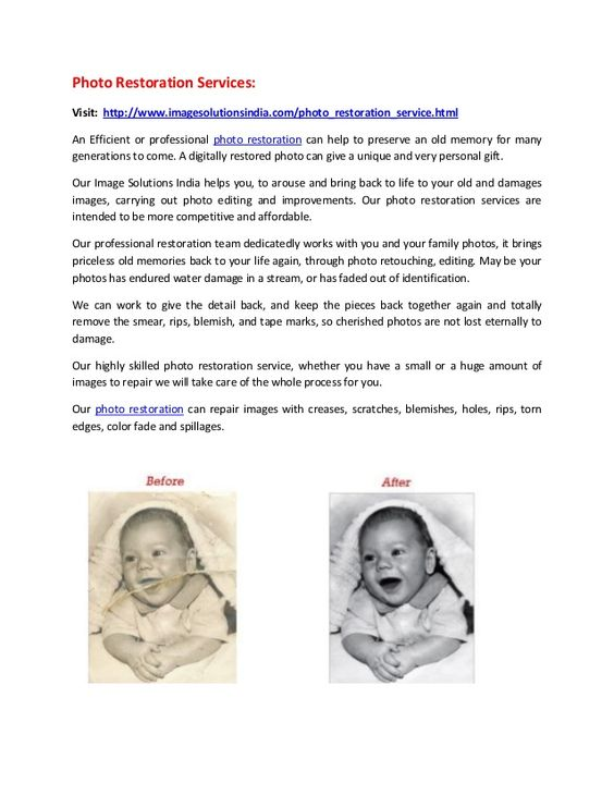 Photo restoration services Bangalore, image restoration services Bangalore. by imagesolutions via slideshare