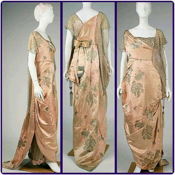 French evening dress 1914, silk, House of Worth. #1900s #1910s #1914 #French #eveningdress #silk #houseofworth #edwardian #edwardianfashion #dress #fashion #fashioninspiration #fashionhistory #fashiongram #fashionhistory #historicalfashion #history #historicalcostuming #historical #instafashion #oodt #stylehistory #style #vintage: