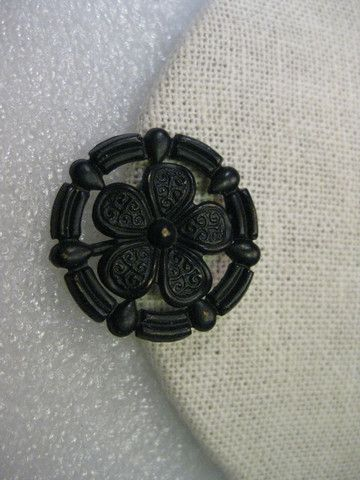 Victorian Floral Mourning Brooch, Black Painted Metal, Round - 1-1/8""