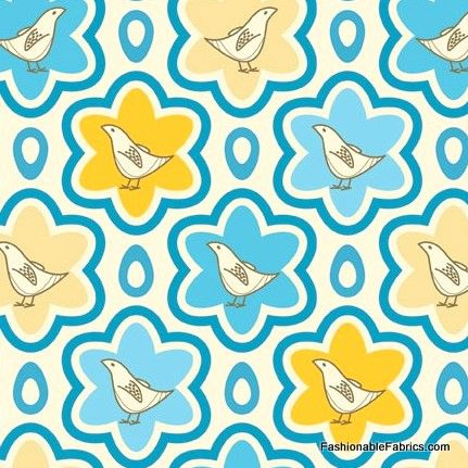 Fabric... Pear Tree Partridge in blue by Andover Fabrics