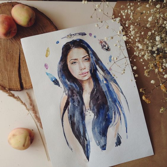 Portrait watercolor art drawing girl illustration painting