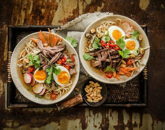 Pulled beef ramen noodle soup