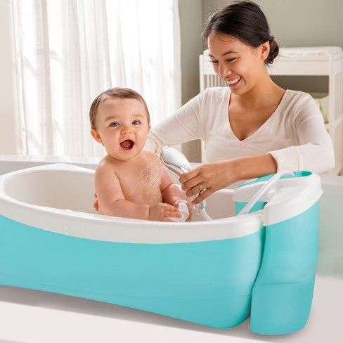 Summer Infant Newborn Bath Tub Lil Luxuries Whirlpool Bubbling Spa Shower Blue