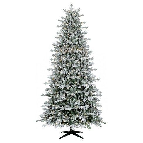 9ft Pre Lit Artificial Christmas Tree Full Flocked Balsam Fir Clear Lights Wondershop Artificial Christmas Tree Flocked Christmas Trees Aluminum Christmas Tree