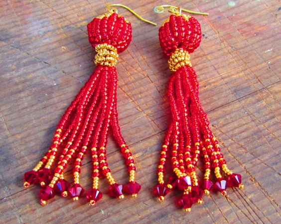 Red and Gold Tassel Earrings with Swarovski by LisaWeirJewellery, €60.00