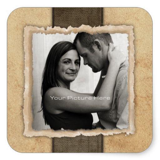 Engagement Photo Rustic Vintage Wedding Sticker