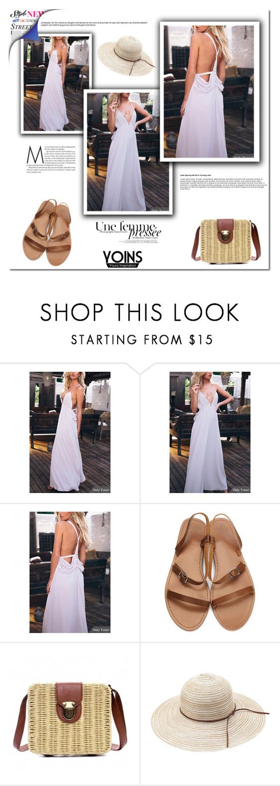 """""""Yoins - white dress."""" by tatajrj ❤ liked on Polyvore featuring yoins"""