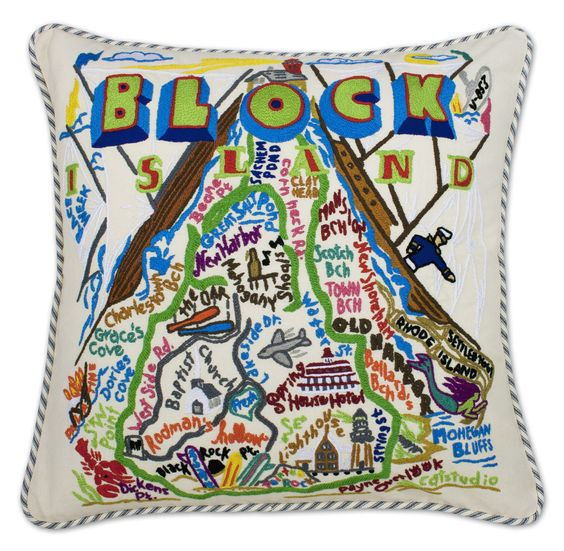 Block Island Hand Embroidered Pillow from southern|ELEVATION