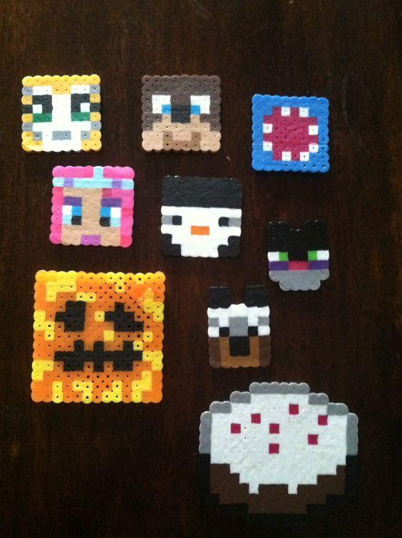 Minecraft stampylonghead perler beads: Stampy, lee, squid ...