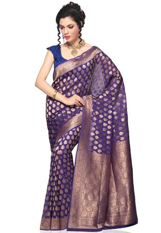 georgette dark blue printed saree - Google Search