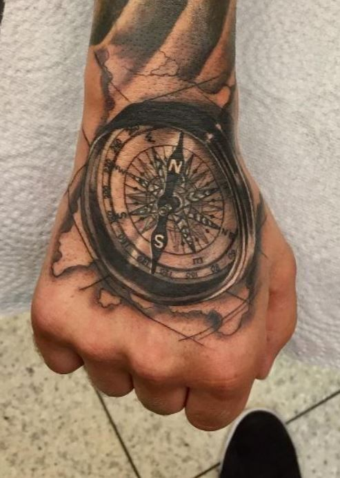 150 Trendy Hand Tattoos For Men You Must See In 2020 Compass Tattoo Men Compass Tattoo Hand Tattoos For Guys