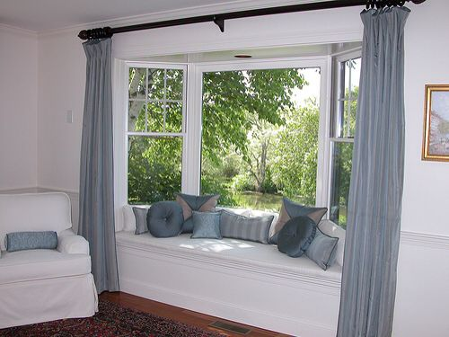 living room curtains for square bay window ideas for the house pinterest home bays and nooks. Black Bedroom Furniture Sets. Home Design Ideas