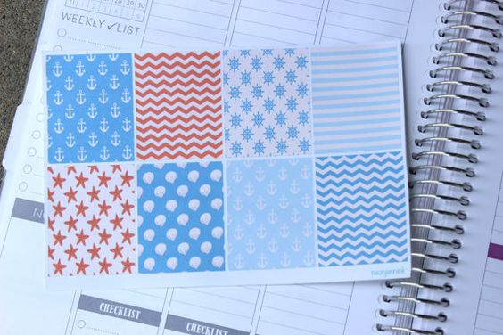 Nautical Sticker Squares, Perfect for Erin Condren and Plum Planners!