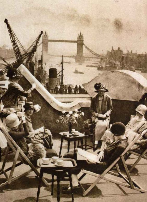 An afternoon spent with tea and the ladies. 1925 London overlooking the Thames.