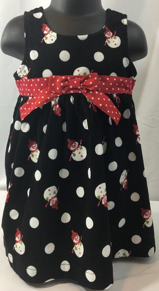 Baby Girl Black White Polka Dot Snowmen Christmas Dress 100% Cotton Corduroy 2T  #BlueberiBoulevard #PicturesPartiesChristmasDressyHoliday