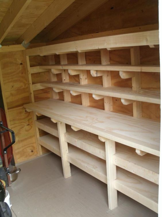 Shed workbench and shelves more woodworking projects for Wood craft shelves