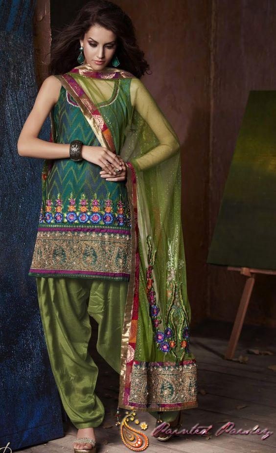 Punjabi Kudi..Green Silk Embroidered Salwar Suit - Arunima