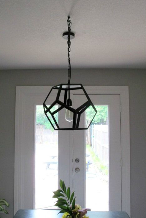 How to swag a pendant light fixture. The hexagon black metal pendant from  World Market