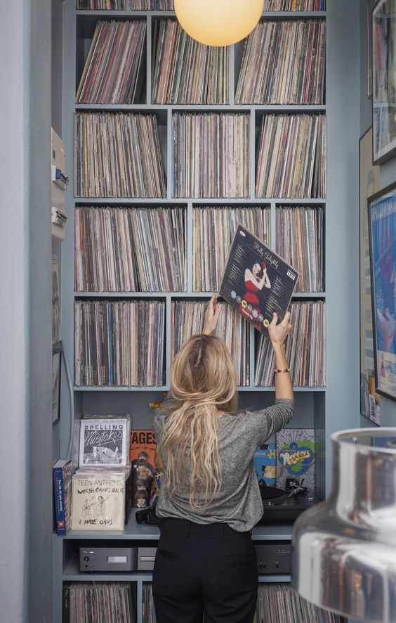 A very nice looking record storage.