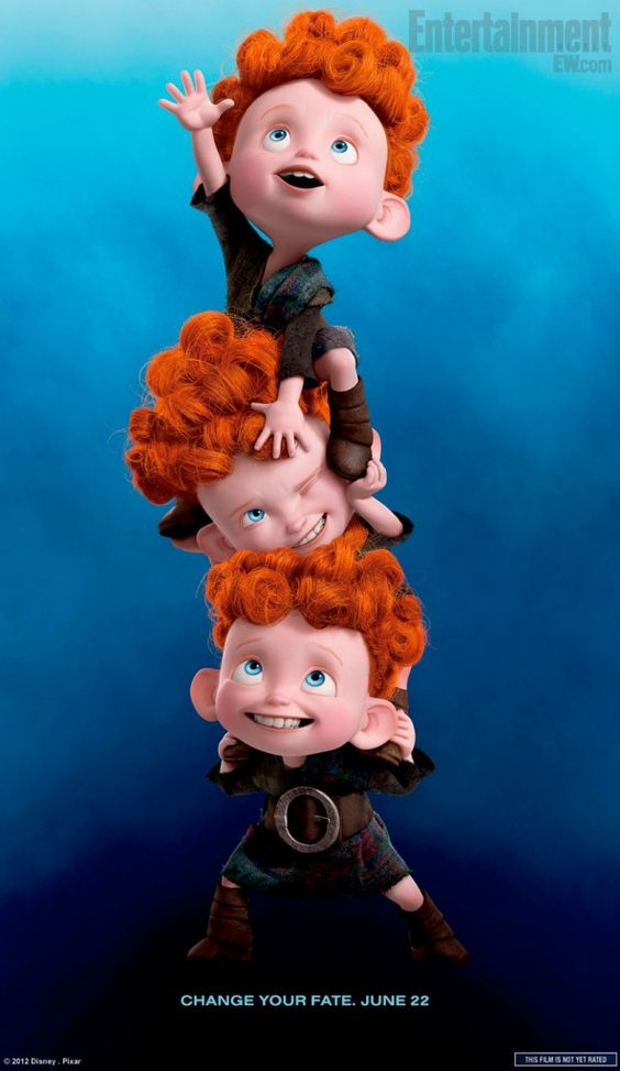 Merida's triplet brothers, Hamish, Hubert, and Harris / Pixar's Brave