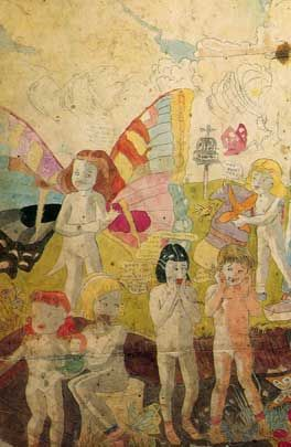 Henry Darger wrote thousands of pages about the Child Slave Rebellion, a sci-fi or fantasy story chronicling the Vivian Girls as they tried to escape from hostile rulers. He also illustrated the novels through a collage process utilizing newspaper and magazine cut-outs.