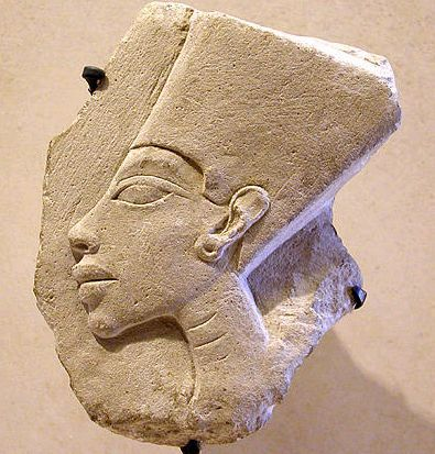 Nefertiti: A small fragment of relief from the Amana period. Housed at the Louvre Museum
