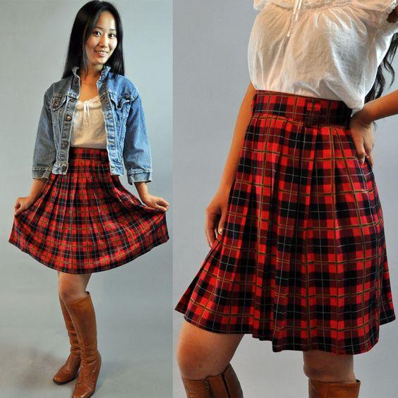 80s vintage PLEATED SKIRT / Schoolgirl Skirt / high waisted skirt ...