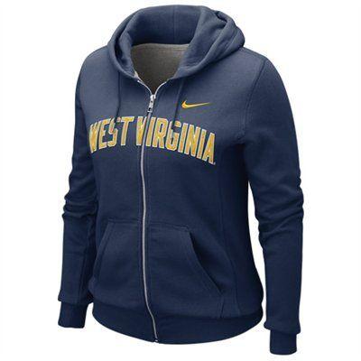 Nike West Virginia Mountaineers Ladies Navy Blue University Classic Full Zip Hoodie Sweatshirt  #WishList