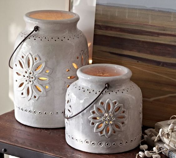 Pottery Barn - Punched Ceramic Lanterns These are pretty...even have kind of a Mexican look