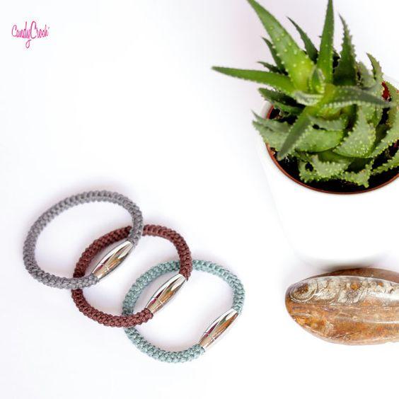 Bracelet textile homme / Bracelet aimanté bleu vert / Bracelet coton tissé / Bracelet masculin / Bijou homme / Bracelet acier inoxydable - par CandyCroch'