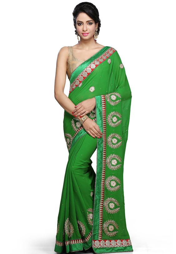 Buy Green Faux Georgette Saree with Blouse online, work: Embroidered, color: Green, usage: Festival, category: Sarees, fabric: Georgette, price: $191.00, item code: SJN5809, gender: women, brand: Utsav