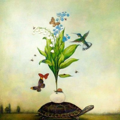 Duy Huynh painting - New Beginnings, turtle painting