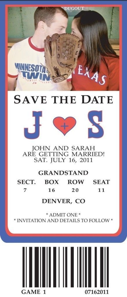 This would be a cute idea since Doug is a Braves fan and I am a Cardinals fan! sports save the dates, baseball save the dates #wedding #sports