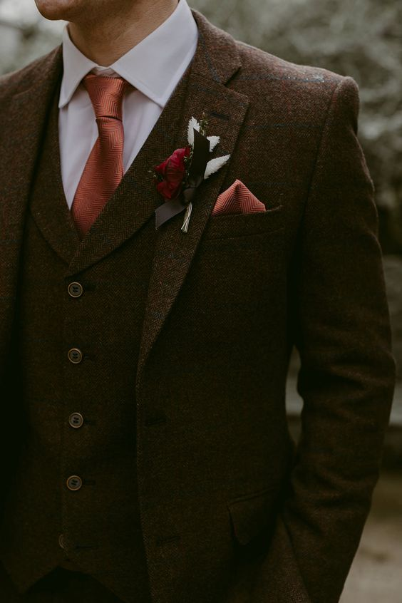 Groom in Brown Wool Wedding Suit | Photographer: Adam and Grace Photography | Wedding Venue: Larchfield Estate | Location: Lisburn, Northern Ireland | Wedding Dress: Halfpenny London Juniper Dress & Lilly Skirt | Bridal Boutique: White Gallery Boutique | Headpiece: Luna Bea | Bridesmaids: Monsoon | Groom Suit: Suitor Brothers | Groomsmen: Red Grooms | Florist: Rosehip and Berry | Cake: French Village Bakery | Stationery: SophieklMitchell via Etsy | Hair: Harbinson Hair | Makeup: Jennifer Ireland