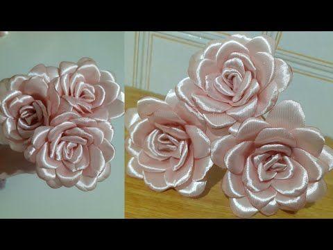 وردة من الساتان عمل وردة من الستان وردة بشرائط الساتان Satin Ribbon Flower Youtube Fabric Flowers Ribbon Flowers Ribbon Art