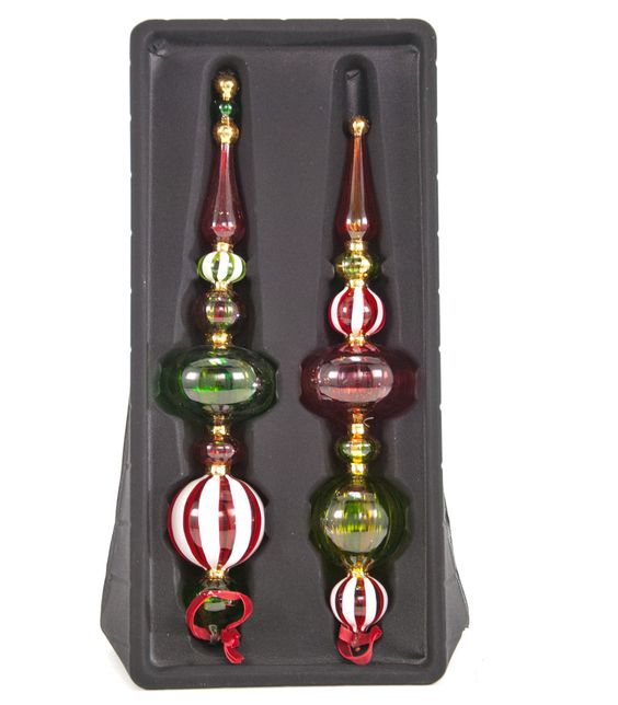 """Katherine's Collection Noel Christmas Collection Two Sets 14.5"""" Assorted Noel Painted Glass Finial Ornaments Free Ship"""