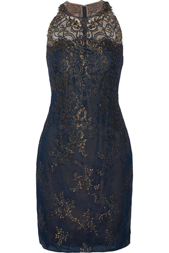 Marchesa NotteMetallic lace mini dress