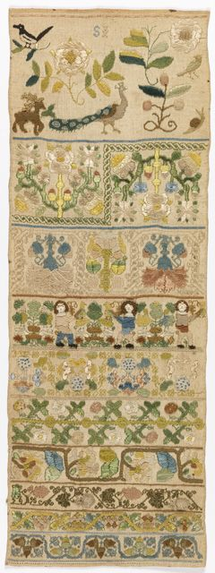♒ Enchanting Embroidery ♒  Sampler, late 17th century. Medium: silk embroidery on linen foundation Technique: embroidered in running, double running, herringbone, stem, back, eyelet, cross, knot and satin stitches with detached looping on plain weave foundation
