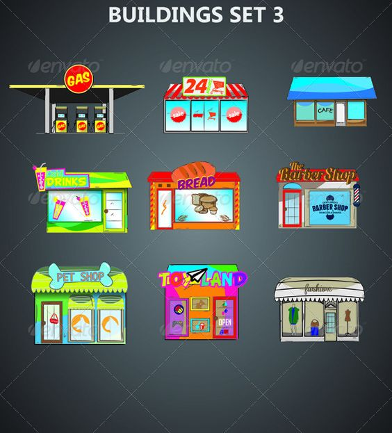 2d buildings facades 2d game assets pinterest for 2d building drawing
