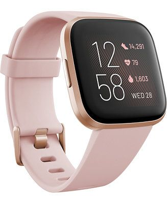 Fitbit Versa 2 Rose Elastomer Strap Touchscreen Smart Watch 39mm & Reviews - Watches - Jewelry & Watches - Macy's