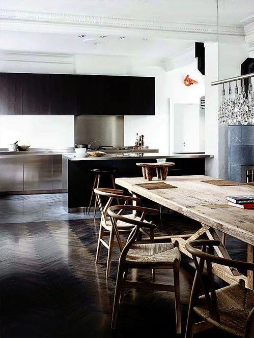dark + dramatic | kitchen + dining area  CH24 - Chaise - Hans J.Wegner #homedecor #interiordesign #home