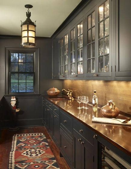 Best Charcoal Gray Painted Butler S Pantry With Copper Bar Sink 640 x 480
