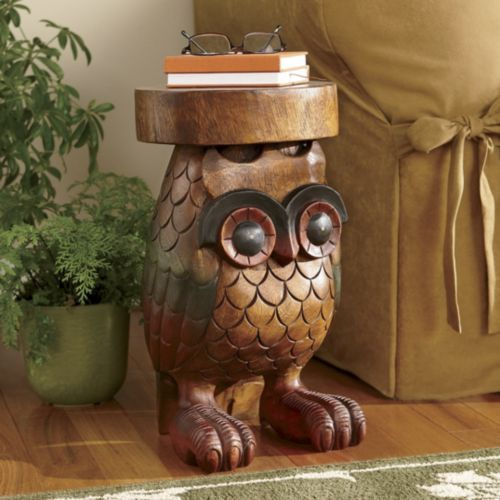 Hand-Carved Wooden Owl Table from Through the Country Door®